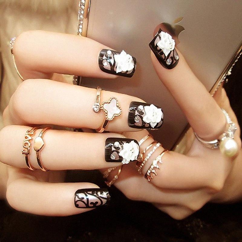 ZHOU Curto Preto Falso branco esculpido Design de Moda Flower Nails False Nails Beauty verão cheio Tampa Artificial Qdwq #