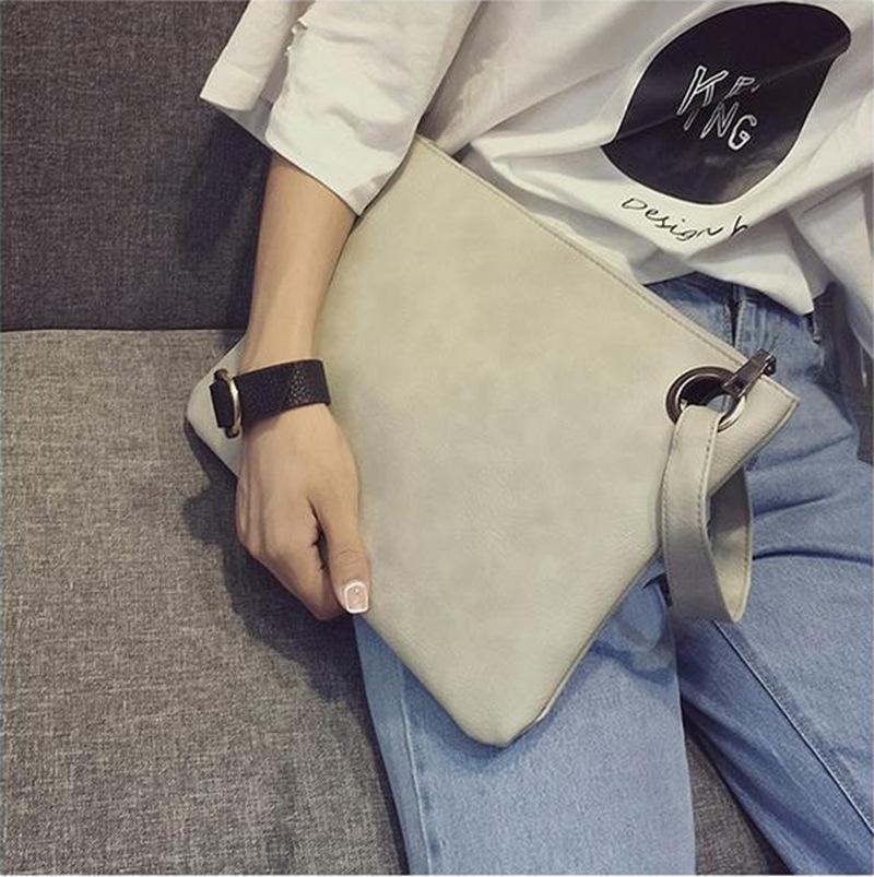 패션 여성 솔리드 컬러 PU 가죽 서류 가방 핸드백 봉투 대형 클러치 지퍼 지갑 팔찌 가방 많은 색상
