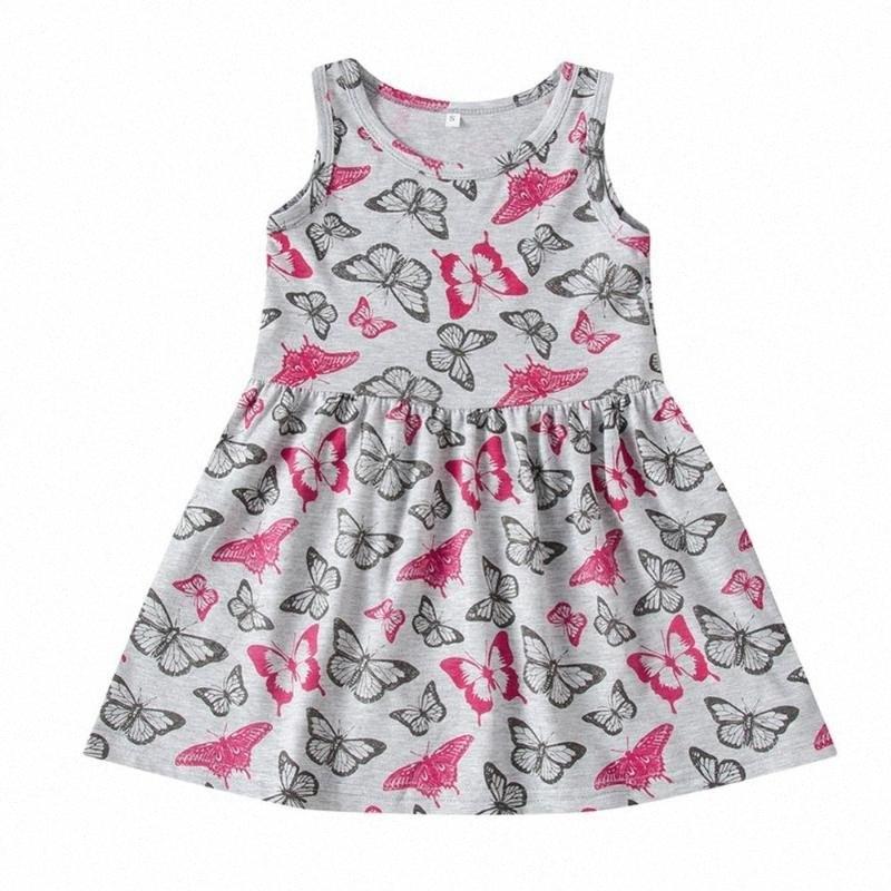 Été bébé filles papillon Robe à motif floral manches XbnR #