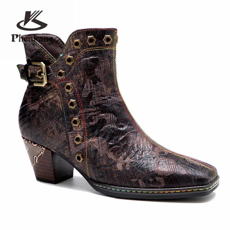 Botas Mulheres Inverno Genuine Vaca De Couro Retro Tornozelo Qualidade confortável Sapatos Soft Designer Handmade 2021 Brown