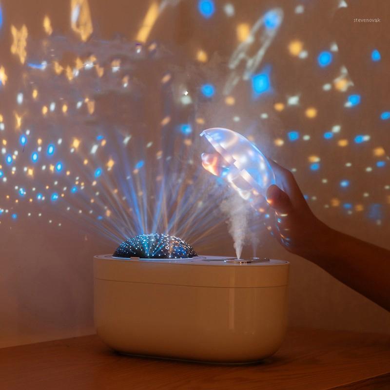 Ar humidificador purificador Duplo spray fresco névoa 1l grande capacidade com luzes diodo emissor de luzes projeção de projeção branco1