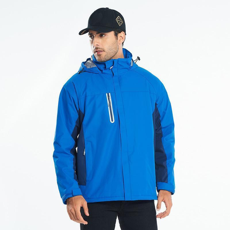 Zipper Pocket Windbreaker Hiking Jacket Women Men Camping Fishing Warm Waterproof Jacket Coat Hooded Outdoor Sports Coat
