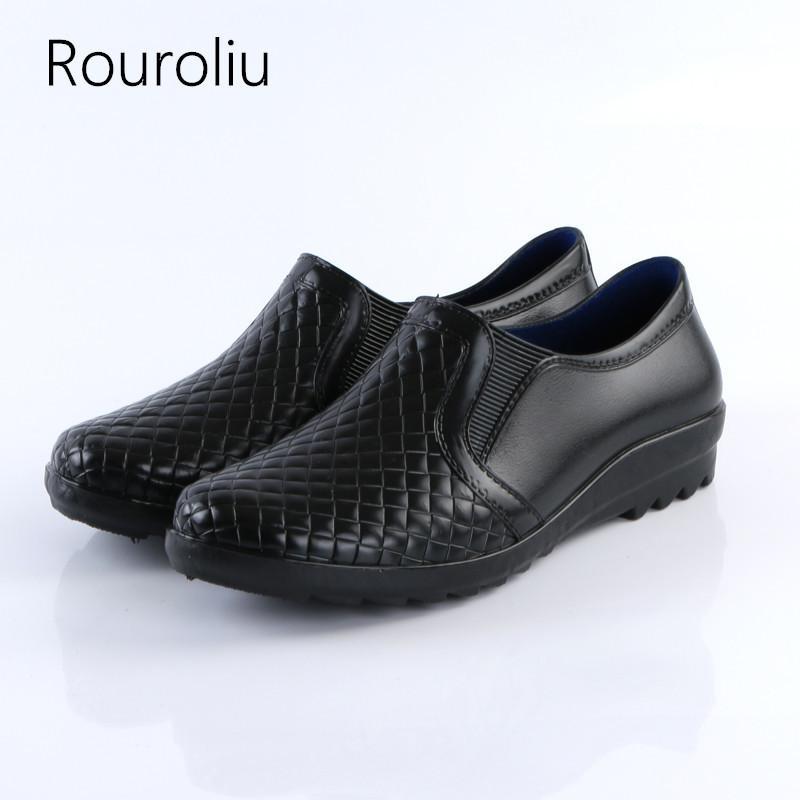 Bottes de pluie en cuir Imitation Étanche Étanche Chaussures d'eau Homme Wellies Confortable antidérapante