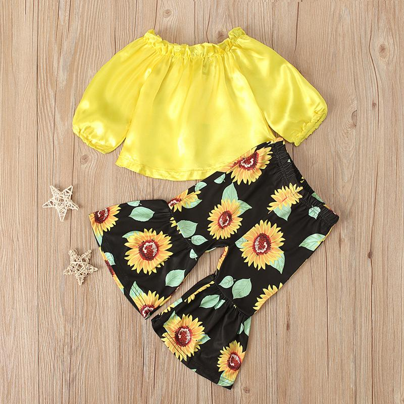 Two Piece Set Baby Clothes Long Sleeves Strapless Upper Outer Garment Children Sunflower Printing Bell Bottom Trousers Clothing Suit 25xn K2