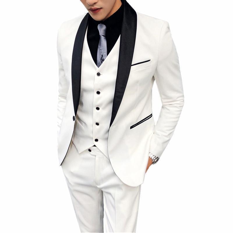 Trajes de hombre Blazers Blazers Vestimenta Blanco Juego de tres piezas Chaleco de chaqueta de alta calidad Chaleco con pantalones Tamaño asiático S-XXXXL Diseño delgado Masculino