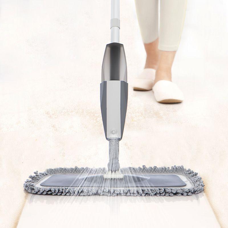 Spray esfregão para limpeza de chão esfregão seco molhado macaco para ladrilhos laminados madeira cerâmica com garrafa almofadas reutilizáveis e kit de limpeza do raspador LJ201128