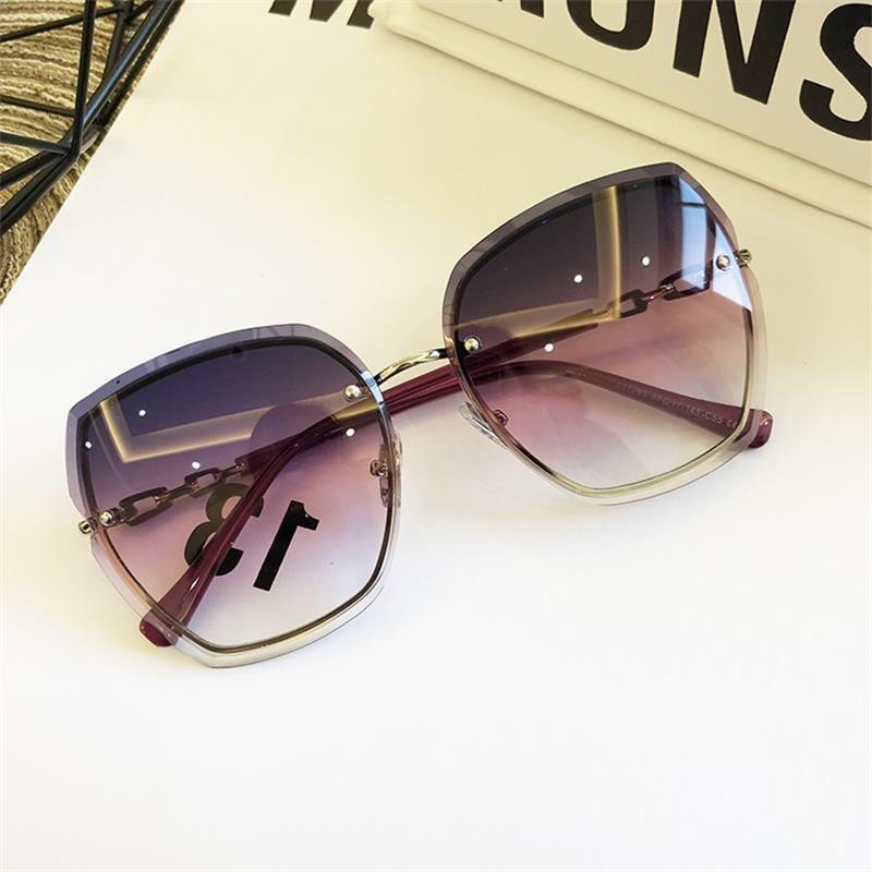 Brillen Randlose Linse Sonnenbrille Gläser Luxus Frauen Sonne Frau Frau 2021 Glas Rosa Blau Square Design Gradienten Xkuib