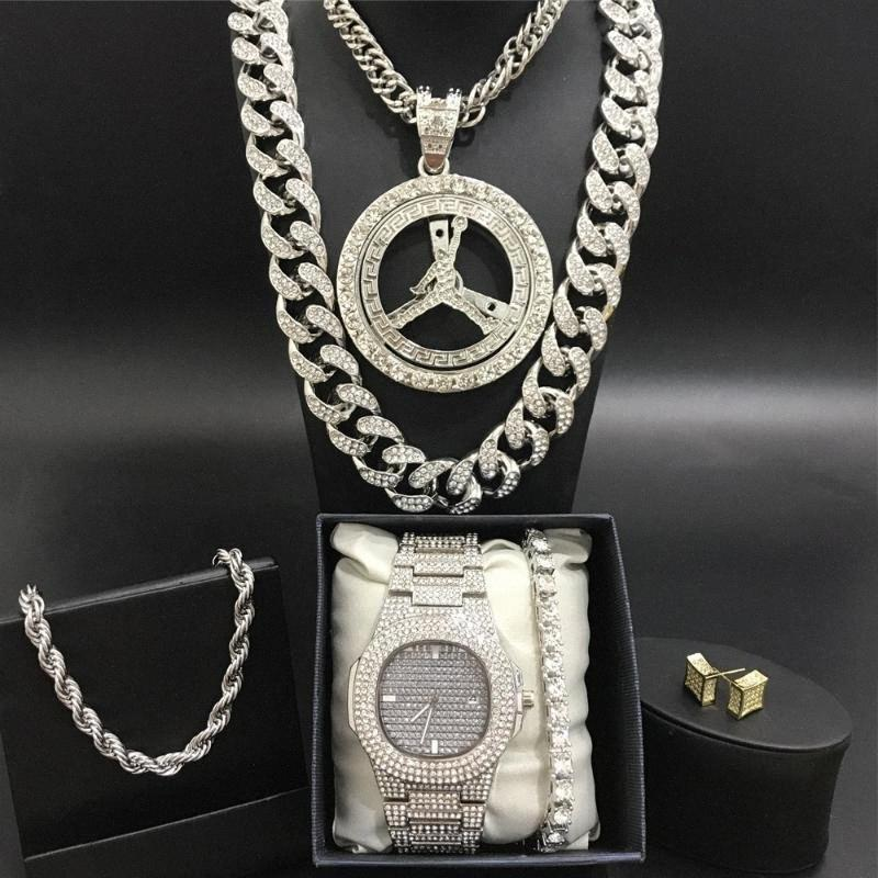 Men Silver Watch Hip Hop Men Watch & Necklace & Braclete&Ring Combo Set Out Cuban Crystal Miami Chain Hip Hop For QLlF#
