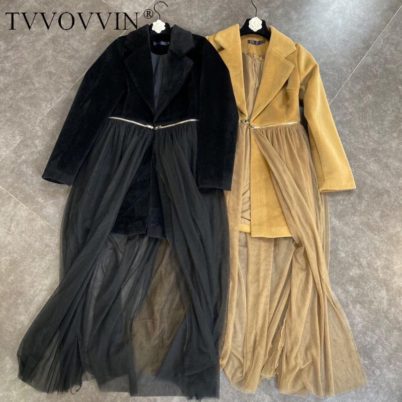 Tvvovvin mulheres terno malha patchwork vintage veludo mulher blazer mulher irregular falsificação dois pretos blazers manga longa k4kj