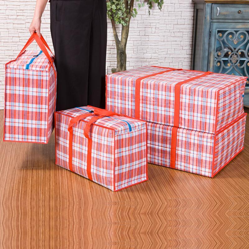Blanchisserie en plastique portable de qualité supérieure zippée réutilisable grand sac de rangement fort fort