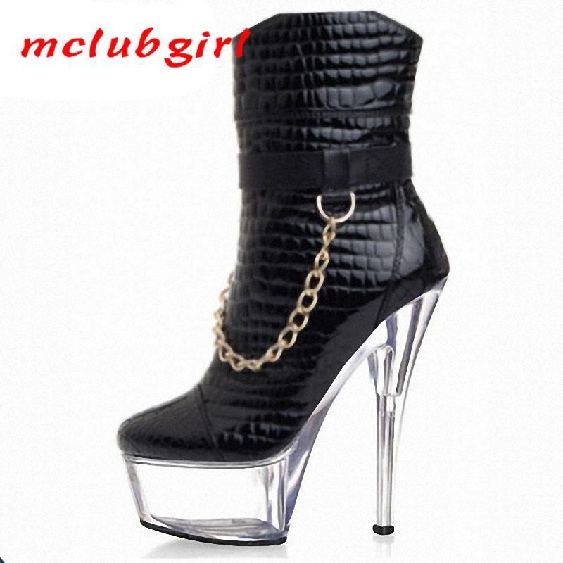 Mgirlclub 2020 Unique Metal Chain Decorated With Low Boots Crystal 15cm Heeled Fine-heeled Waterproof Platform Boots LYP-C-114-1