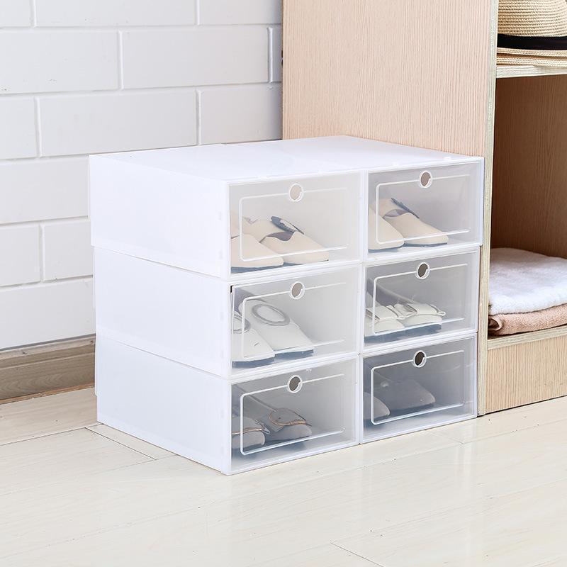 6PCS / مجموعة سميكة الوجه الأحذية شفافة الحذاء درج البلاستيك القضية منظم علب تكويم صندوق مربع تخزين الأحذية التخزين