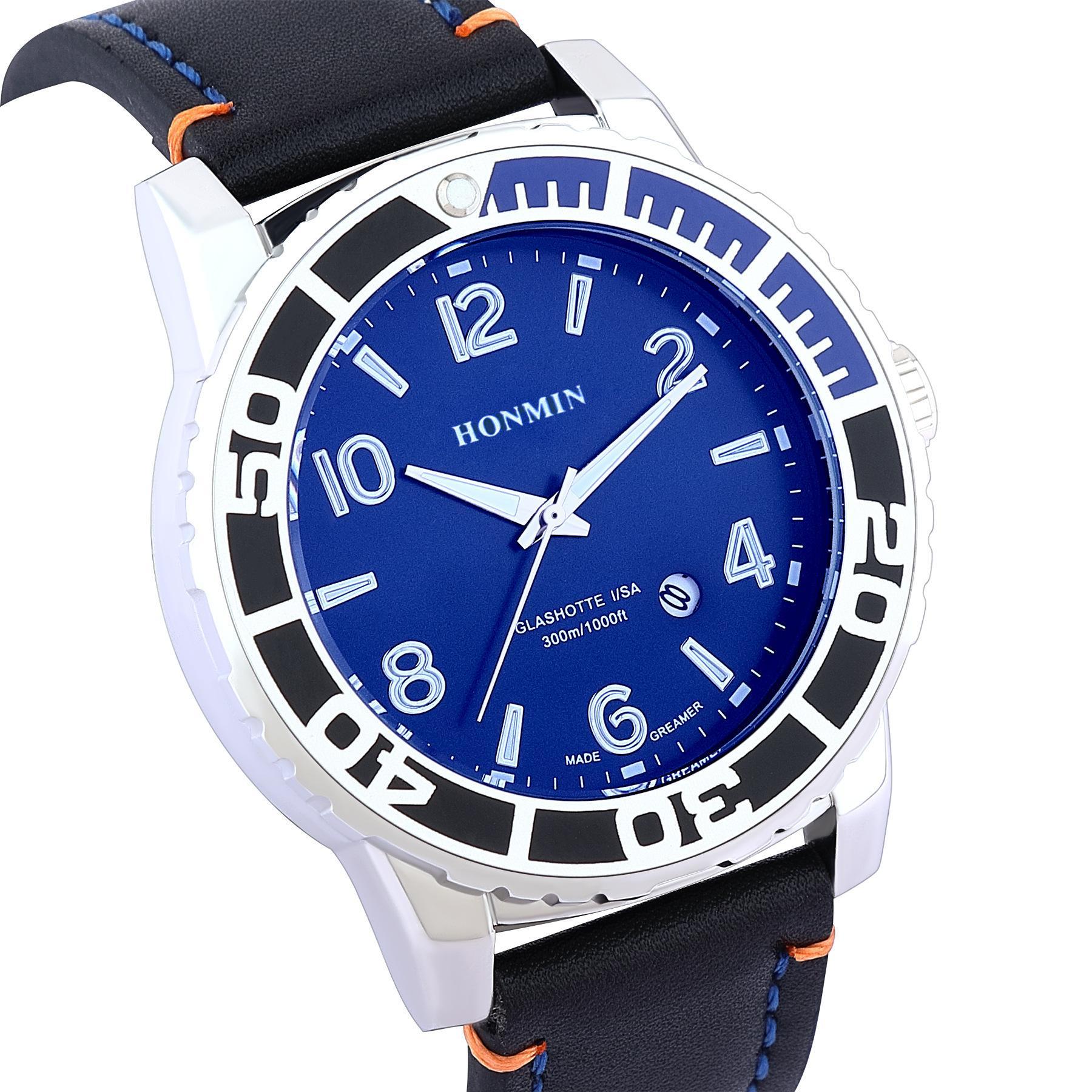 Honmin Men's Watch New Belt Casual Fashion Fashion Impermeable Luminoso Reloj de cuarzo