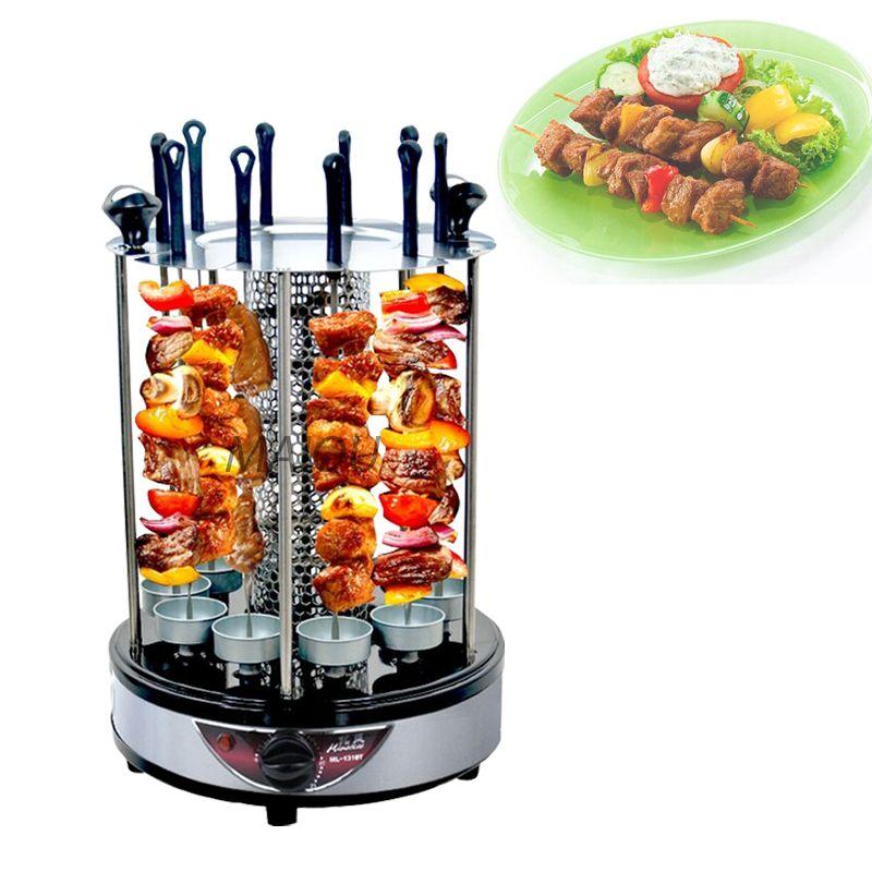 Elektrischer Grill 6 Sticks Automatische drehbare vertikale Grillzeit-Timing-Grill-Grill-Werkzeuge rauchloser Mutton BBQ-Skewers-Maschine