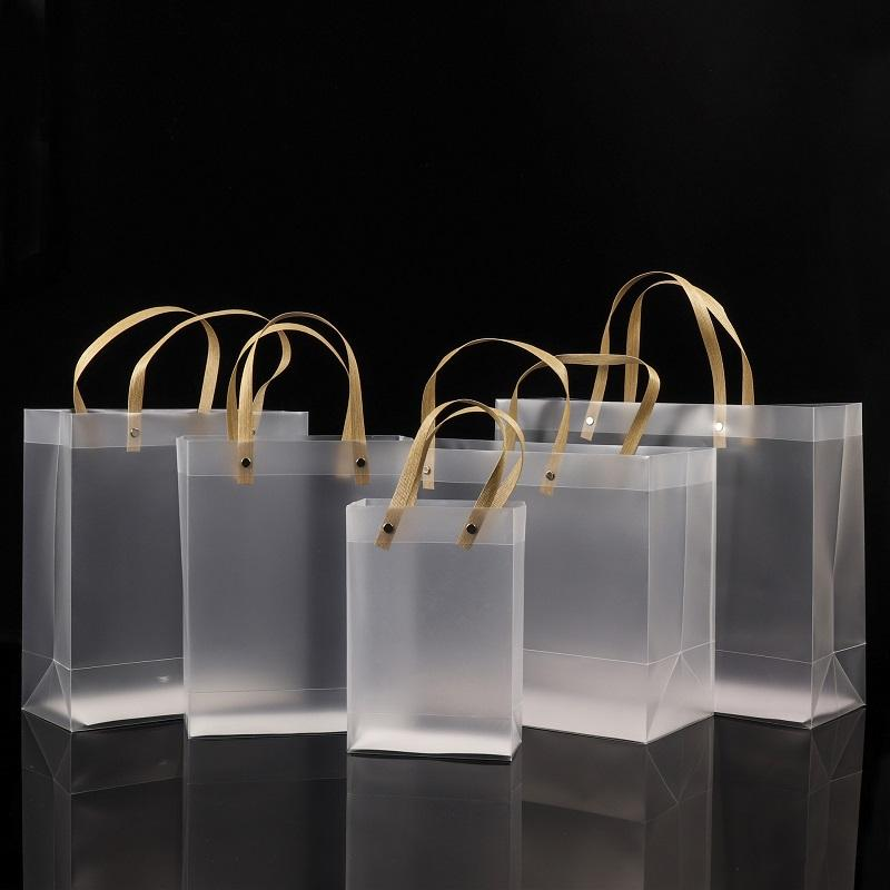 Половина прозрачных матовых из ПВХ сумки подарочная сумка косметика для макияжа Универсальная упаковка пластиковые прозрачные сумки круглые / плоские веревки 10 размеров для выбора BWF2407