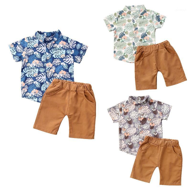 New 2Pcs Baby Boys Clothes Outfits Summer Infant Kids Short Sleeve Print Shirt Tops+Shorts Suits For Boys Clothing 2020 Summer1
