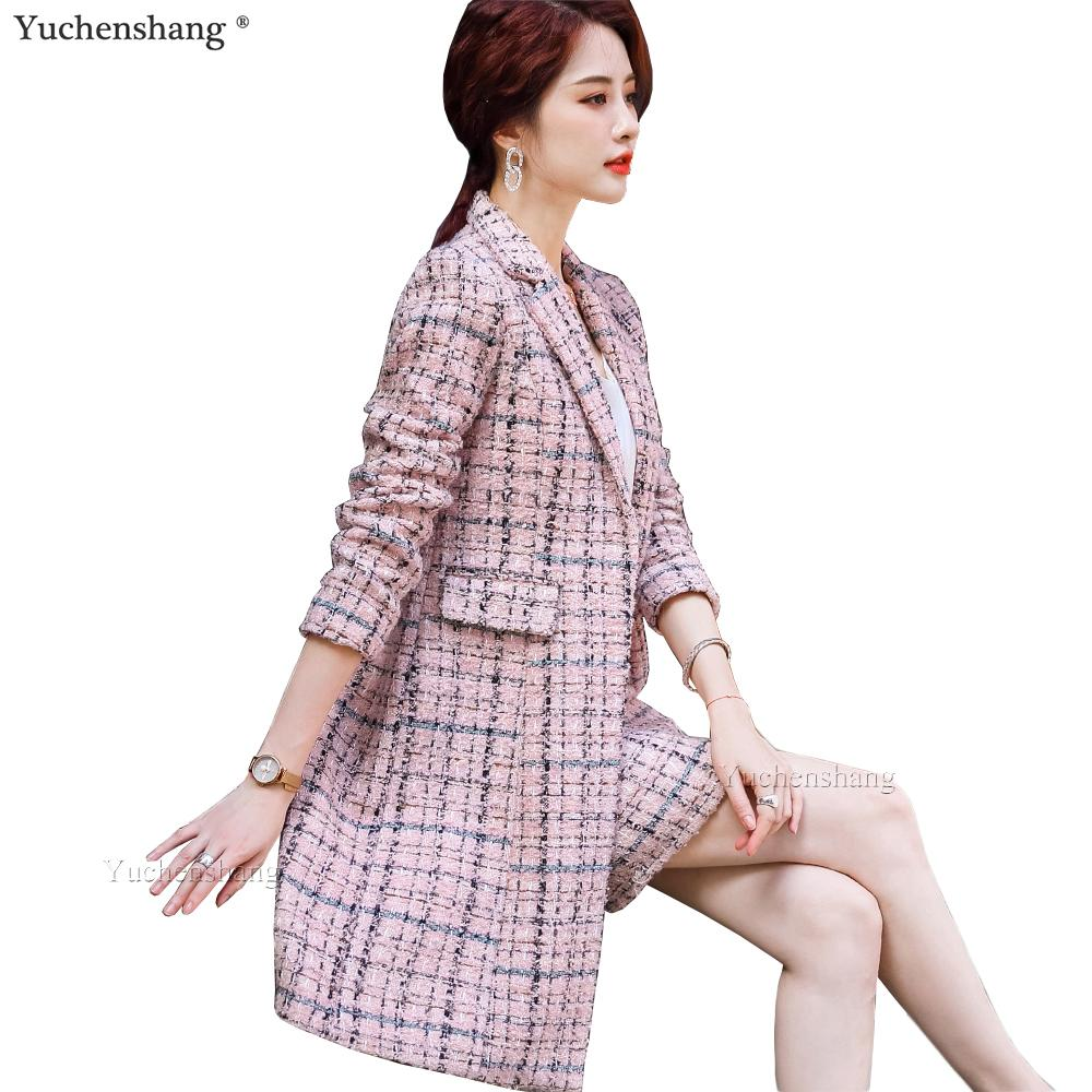 2020 nueva llegada otoño Escudo Otoño Invierno Mujeres largo de la muchacha gruesa tela escocesa Blazer elegantes chaquetas rosa alta calidad ocasional azul