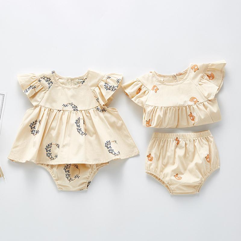 Новый малыш ребёнок одежда для одежды футболки платье + цветочные шорты набор летние детские принцессы одежда детская одежда 201126