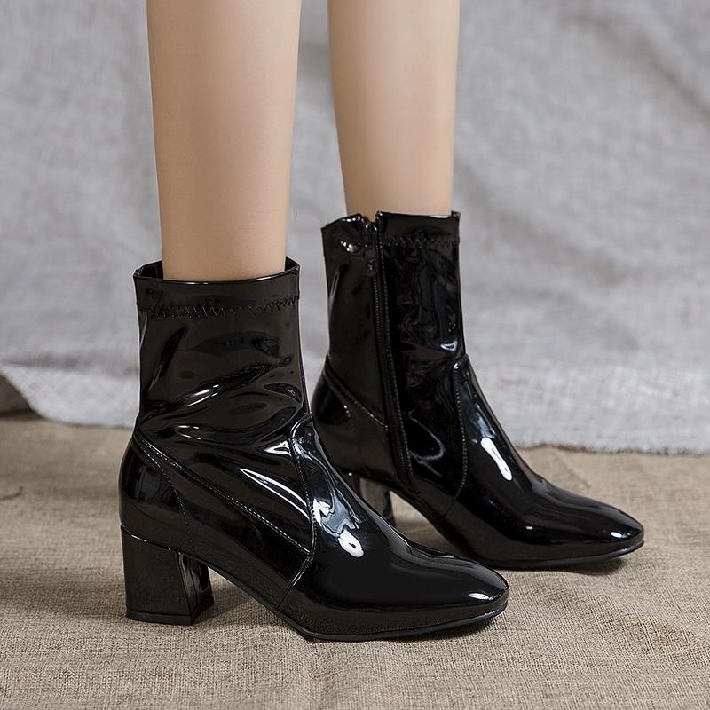 Klassisches Schwarz-weißes Ankle Boot für Frauen-Block Low Heel Short Boots Lady Lackleder Schuh-Frauen-Herbst-Frühlings-Large Size 45 201114