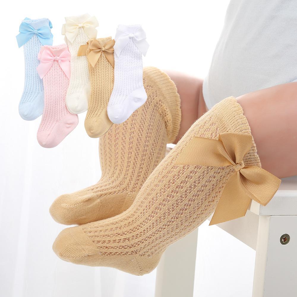 Estate bambini arco scava fuori calzino carino bambini sottile bambino grande arco calze ragazze ragazze poca principessa allentata tubo lungo bowknot calzini c6583