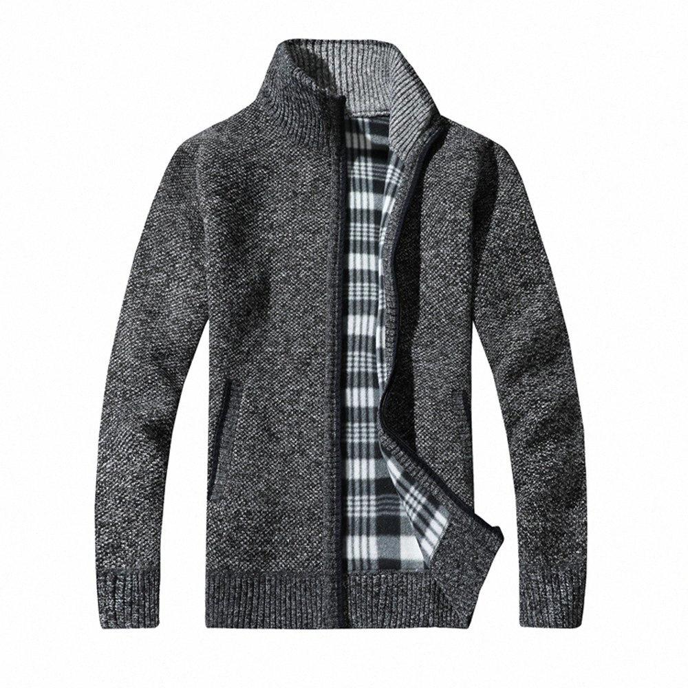 manteau d'hiver manteau coupe cintrée tricot mode hommes pull laple traction veste en tête pulls Homme d91104 Qigu #