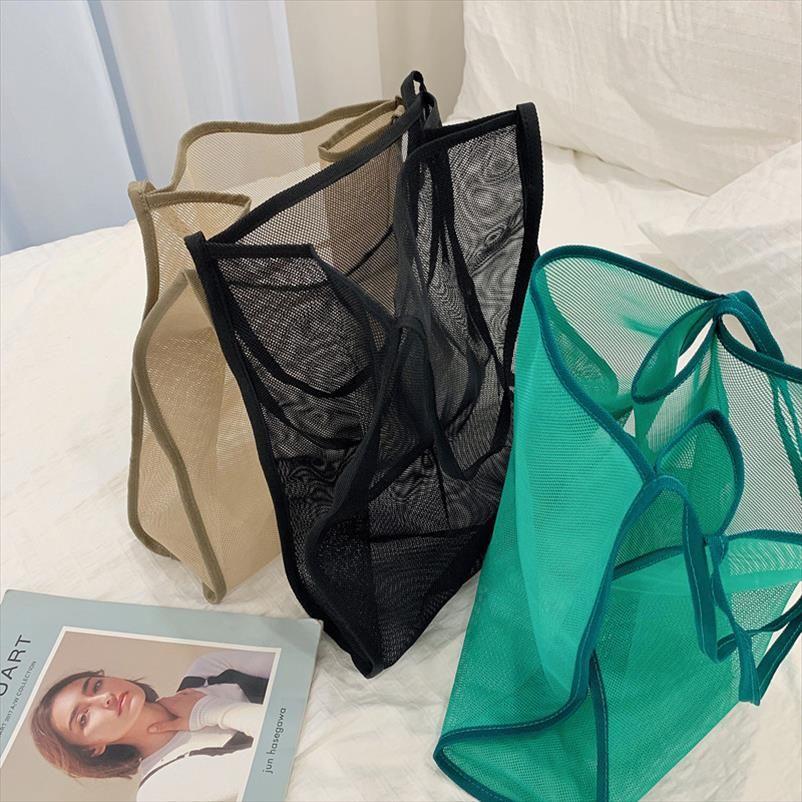Mesh borsa delle donne della modo delle signore di acquisto pieghevole riutilizzabile borse a spalla quotidiano Designer Usa Beach Bag Luce Large Tote casual