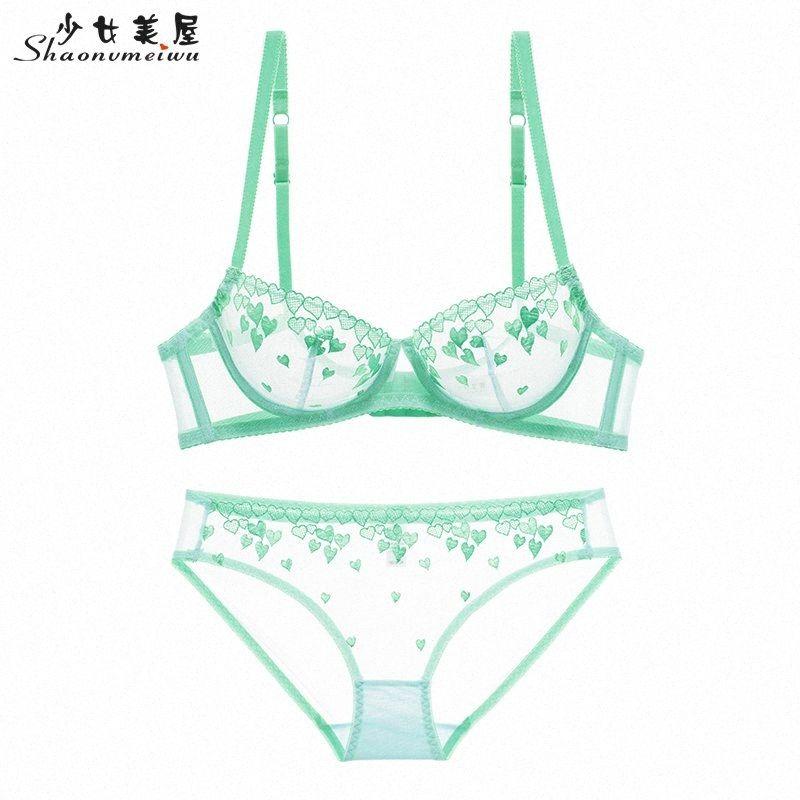 Новый тонкий срез Shaonvmeiwu сексуальных женщин в сеть нижнего белья розовой любви бюстгальтер прозрачной вышивка бюстгальтер искушение Y200115 H6OP #