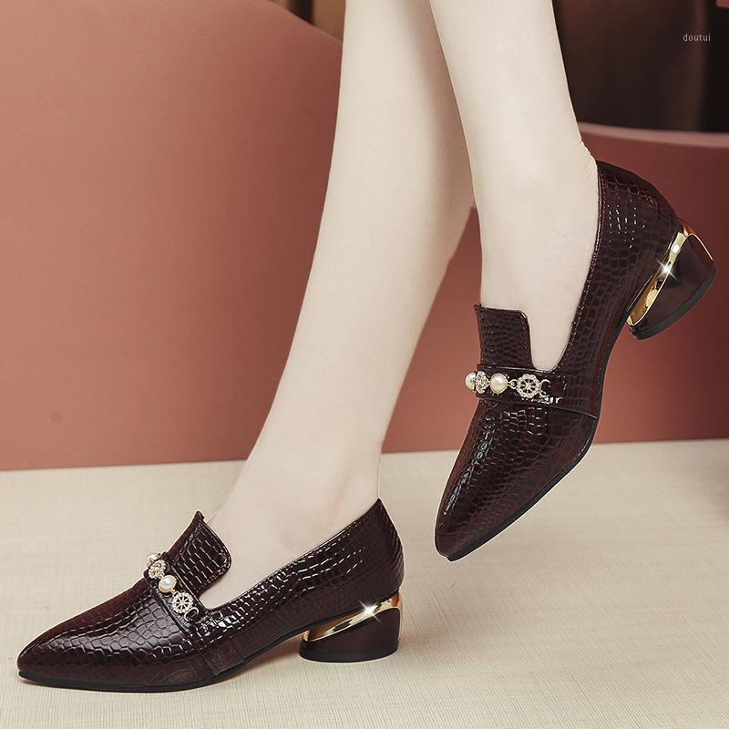 Dress Shoes Single Women's Rhinestone Plaid Spring And Autumn Small Thick Heel Middle All-around Shallow Mouth Work Shoes1
