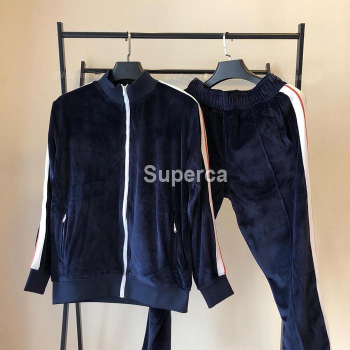 Adam Tasarımcılar Giysileri 20ss Kadife Erkek Eşofman Erkek Kadın Ceket Hoodie veya Pantolon Erkekler S Giyim Spor Hoodies Eşofman Erkek Kış Coat