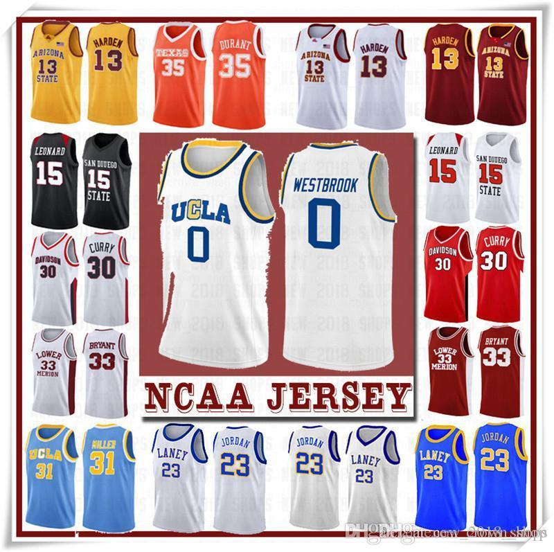 NCCA Jersey Kawhi Leonard James Iverson Homens 23 Lebron Durant 13 Harden Curry Stephen College Basketball Jerseys Russell Westbrook Men7