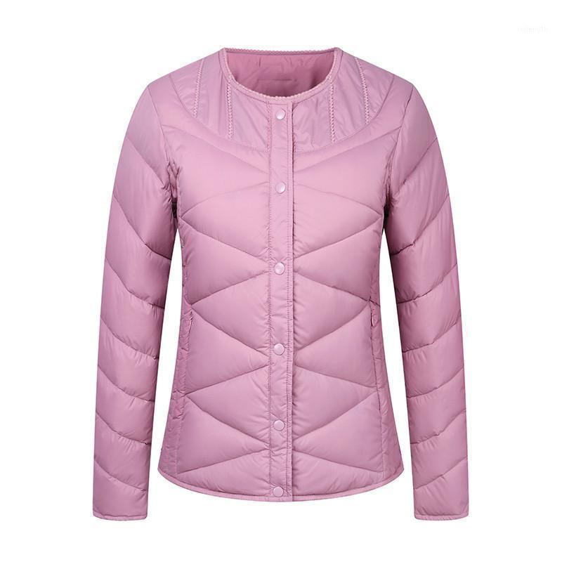 Línea de la chaqueta de la chaqueta de las mujeres ligeras 2018 Nuevo delgado Slim Single-Breasted Short Female Chaqueta de gran tamaño Damas de espesamiento Parkas CW2721