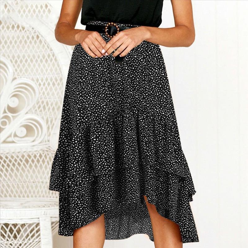 Ladies fashion hot-selling skirt fashion casual ruffled polka dot print frilly wrap half-length skirt 40*