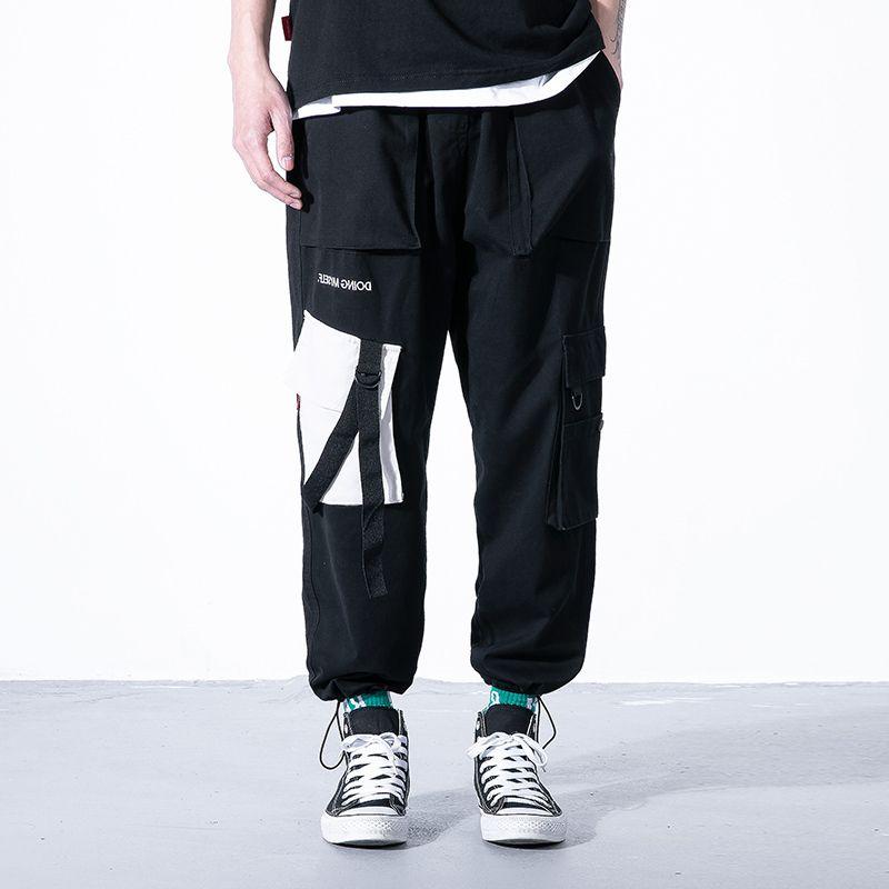2019 harem moda fita dos homens negros calças casuais de cargas de bolso dropshipping calça de moletom