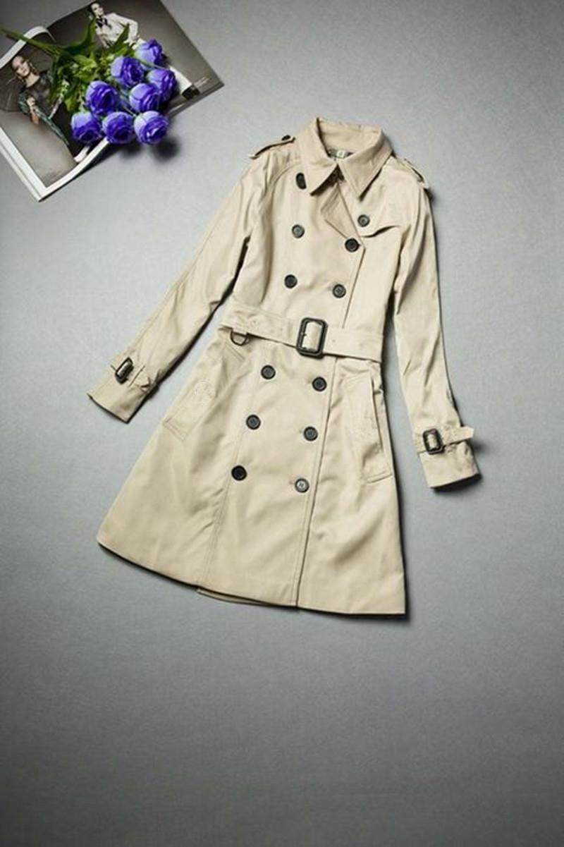 HOT CLASSIC! WOMEN FASHION ENGLAND MIDDLE LONG TRENCH COAT/HIGH QUALITY DOUBLE BREASTED BELTED TRENCH FOR WOMEN S-XXL FREE SHIPPING