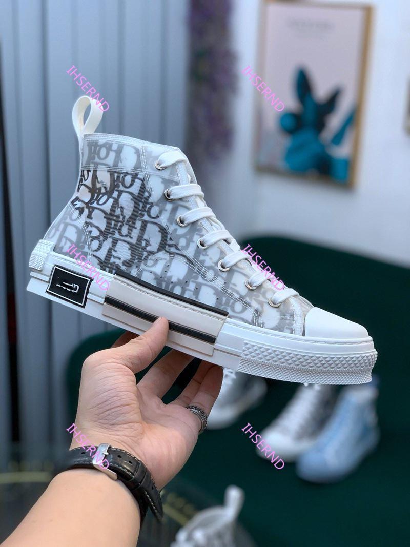 Dior Новый Гао Банг цветы Технической Холст обувь High Top Косой Повседневная обувь 3M Мужская Женская обувь Может быть настроена для 45 ярдов