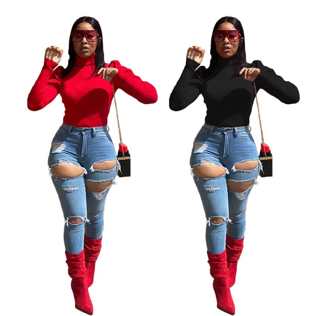 Alta Neck Magro Womens Camisolas Outono Inverno fina Casual Sólidos Tops designer de cores da manga comprida Mulheres