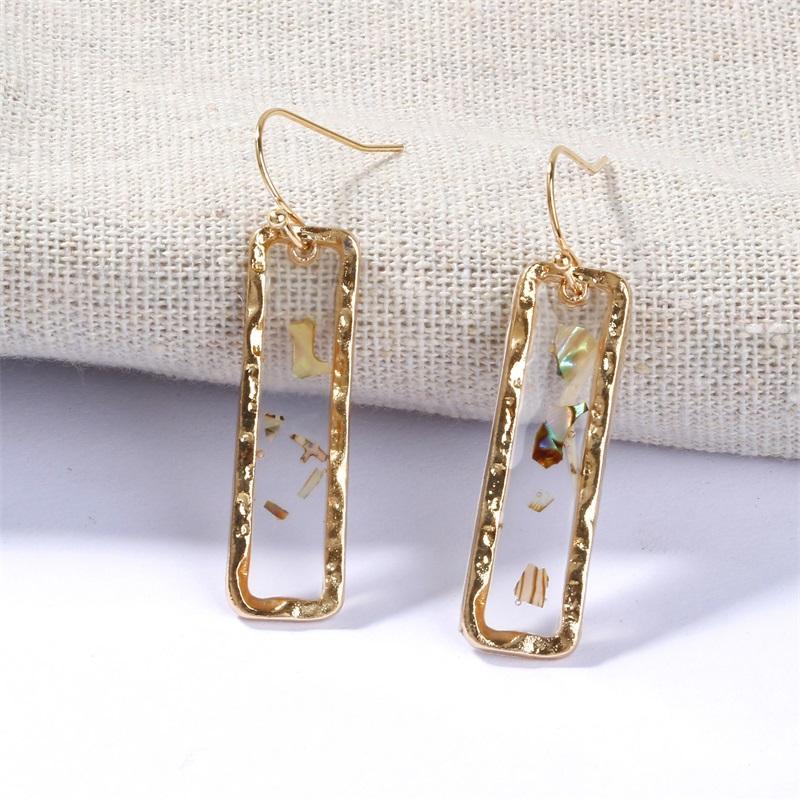 Transparente Gutta Percha Pendientes rectangulares Joyas Mujeres Retro Moda Chapado Ore Ore Ear Studs Nuevo Patrón 1 8SFI J2