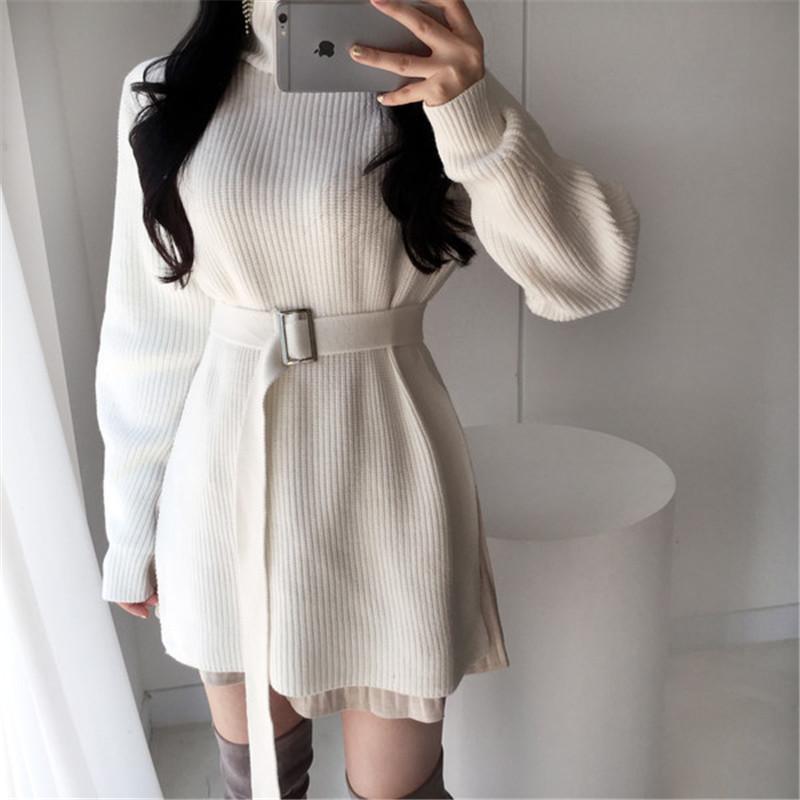 Elegante túnica com cinto de malha vestido de mulher Outono-Inverno Sweater Dress Moda coreana Turtleneck Side Dividir Pullover Vestido