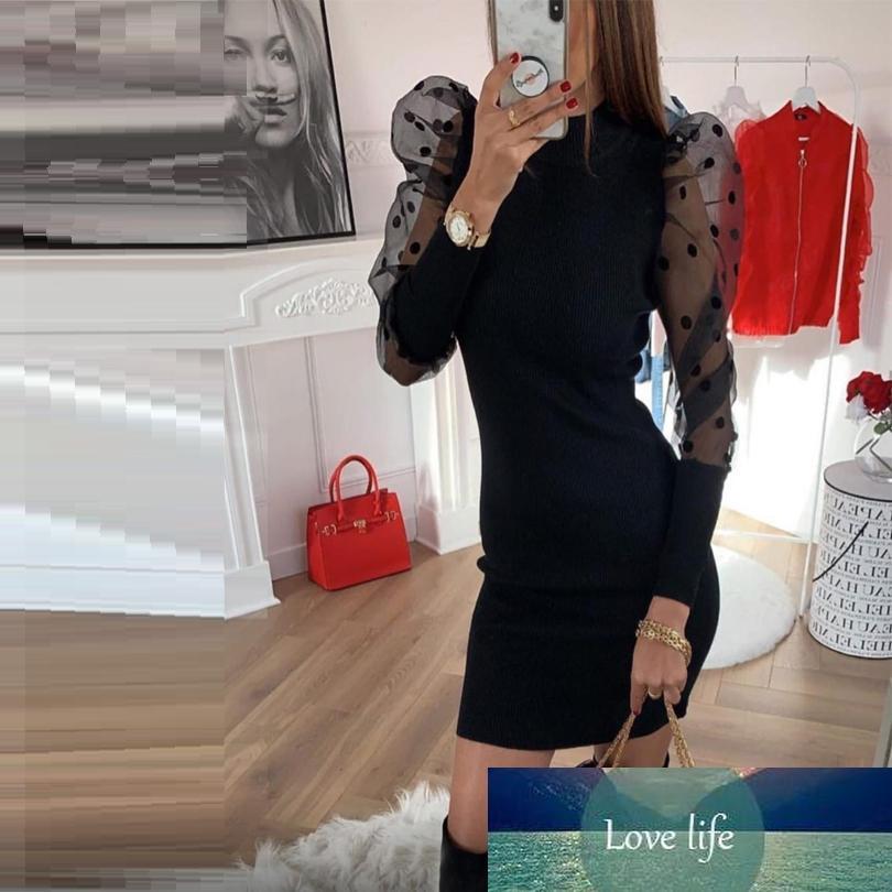 Осенью и зимняя Женская четверть волны точка чистая пряжа фонарь рукава шить пакет бедра платье тонкое платье