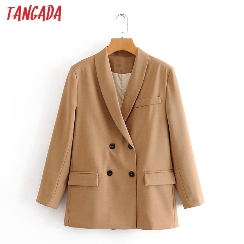 Tangada 2020 осень зима женщин сплошной свободный пиджак женский длинный рукав женский случайный пиджак костюмы LJ201021
