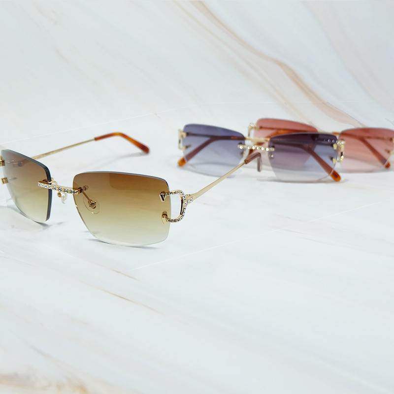 Rhinestones Güneş Erkekler Kadınlar Tel C Elmas Buzlu Çıkan Carter Güneş Gözlükleri Rimless Şık Shades Gözlük Moda Güneş Gözlükleri