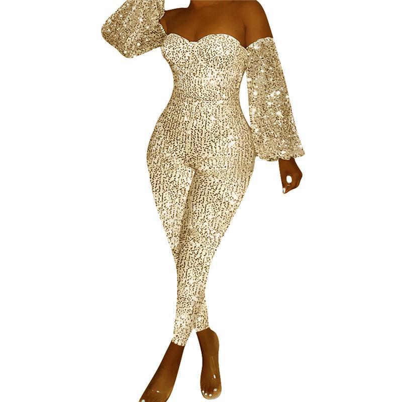 은색 장식 조각이 옷을 빌려 여성 끈이 오프 숄더 스키니 반짝 장난 꾸러기 섹시한 반짝이 크리스마스 클럽 파티 평상복 Macacao