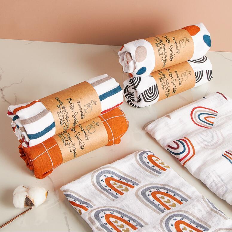 Младенческий муслин чистый хлопок детское одеяло младенца новорожденных одеяла новорожденного пелена, обертывающиеся уборные ткани полотенце 120 * 120см морская доставка bwb4496