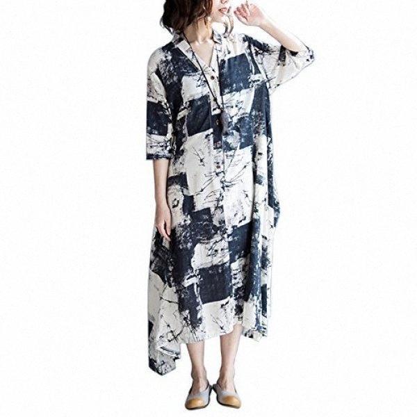 Womens Moda SIMSHION Impresso Floral Botão Vintage Frente 3/4 Maxi vestido longo vestidos bonitos para ocasiões especiais vestido branco YFWB #