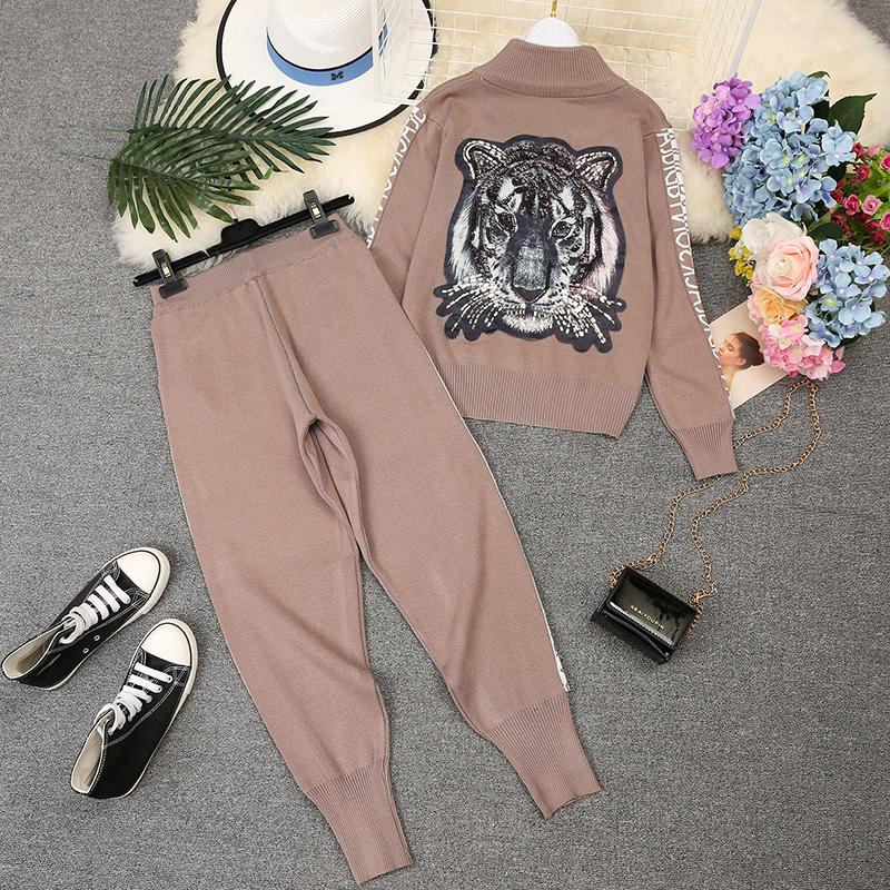 Amolapha Sequins Tiger Zipper Knit Jacket Sweaters+letters Pants 2pcs Sets Long Sleeve Woman Handmade Tracksuit