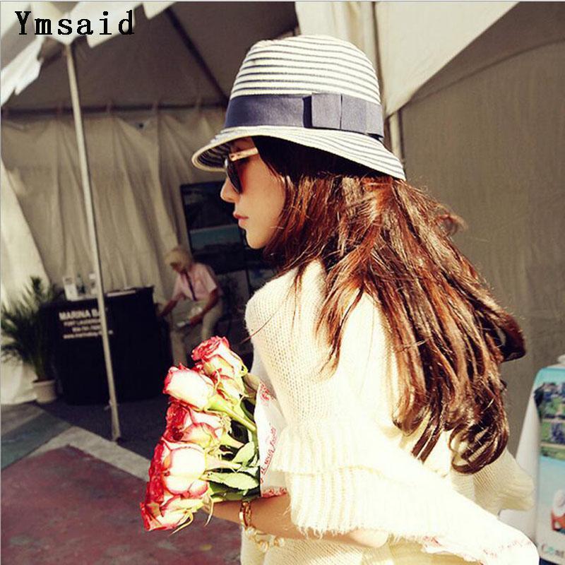 Mode-Sommer-Frauen Sonnenhüte Panama Cap Choke Mund kleine Pfeffer Strohhut blaue und weiße gestreifte Visor-Strand-Hut Stetson