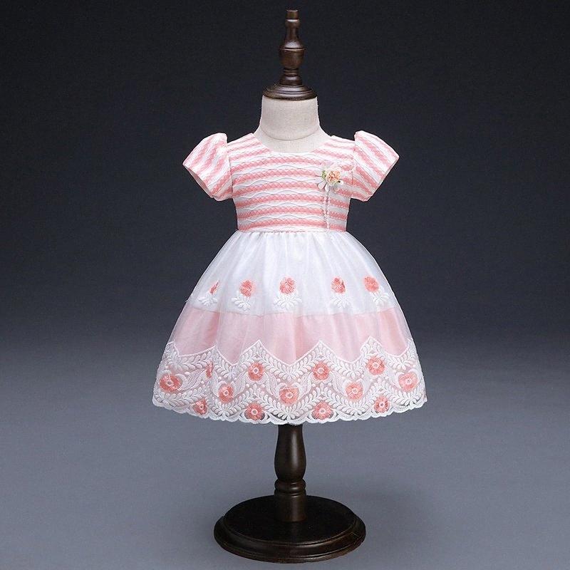 Neue Prinzessin Blumen-Mädchen-Kleid-Sommer-Tutu Hochzeit Geburtstags-Party für Kinder Kleider für Mädchen-nette süße Bogen Kinder Kostüm 9-24M JcPD #