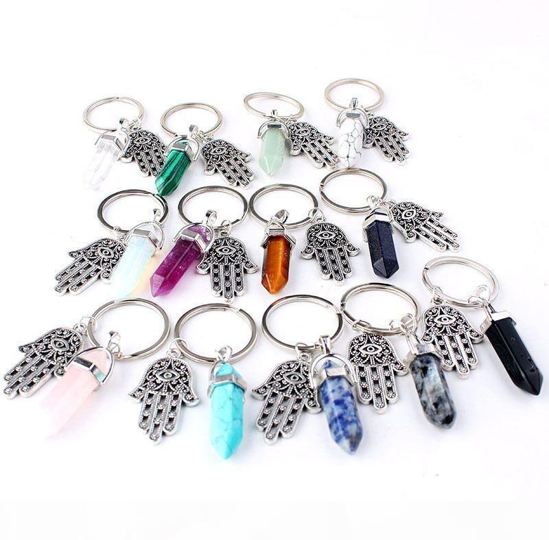 Bullet Shape Natural Stone Keychain Turquoise Quartz Crystal Fatima Evil Eye Palm Charms Key Chains Hexagonal Accessories Bag Key Ring