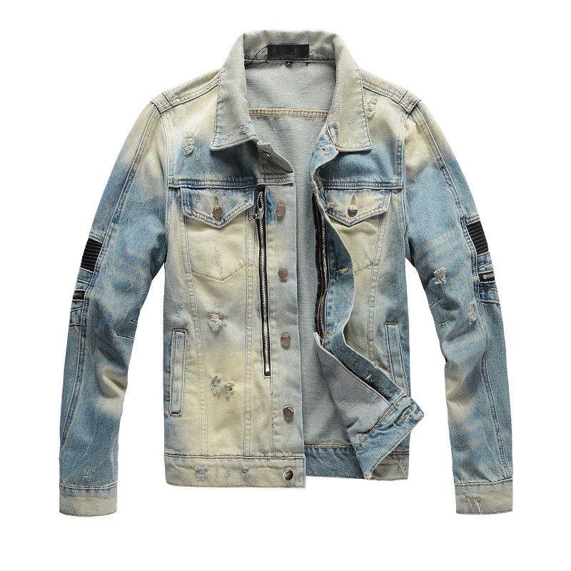 남자 지퍼 블랙 데님 재킷 찢어진 패션 패치 워크 남자 슬림 스트리트웨어 오토바이 바이커 epaulet 청바지 자켓 코트 큰 크기 445
