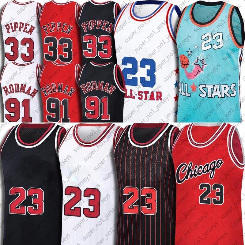 Chicagos MJ Jersey Retro 91 Dennis Rodman Jerseys 33 Scottie Pippen Jersey Vintage Basquete North Carolina Tar Heel Dream Team Jersey